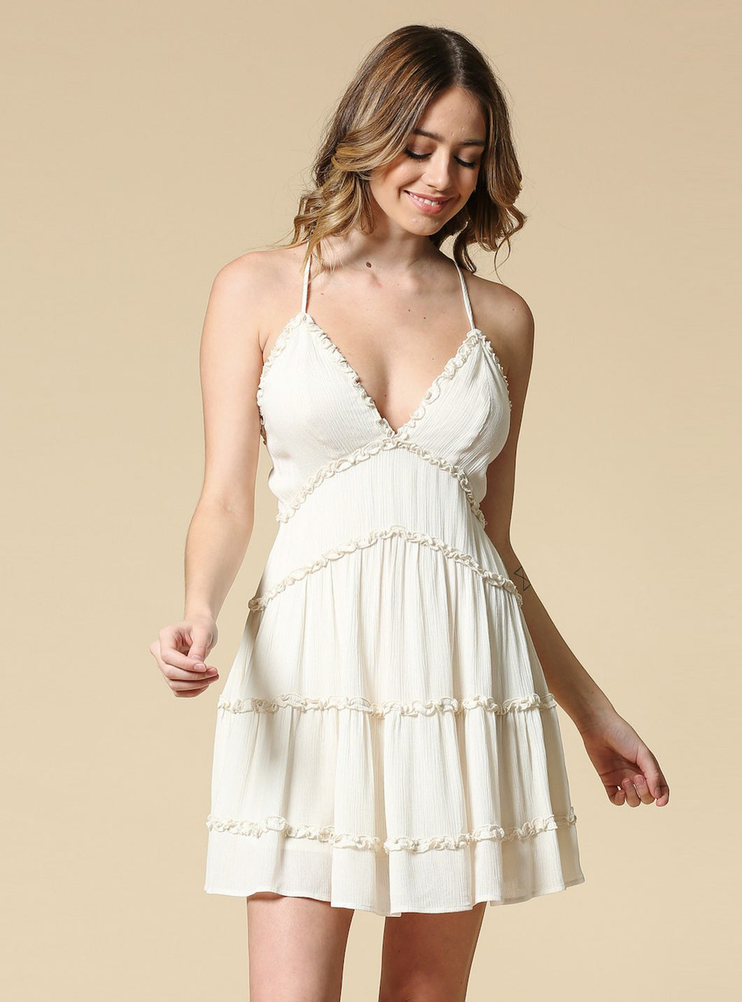 Melinda Ruffle Mini Dress With Open Back - Off White