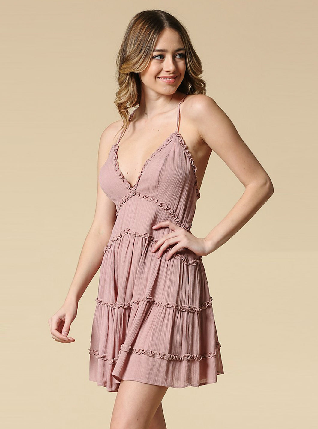 Melinda Ruffle Mini Dress With Open Back - Mauve