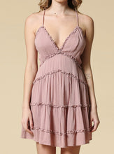 Load image into Gallery viewer, Melinda Ruffle Mini Dress With Open Back - Mauve