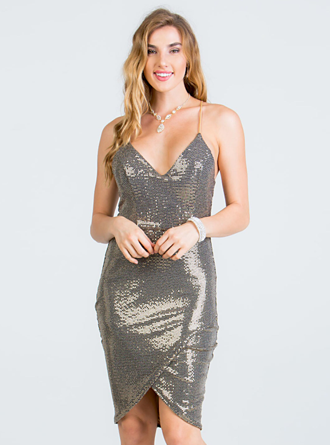 Enigma Gold Sequins Dress