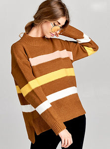 Color Block Mustard Sweater Top