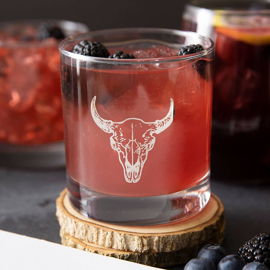 Buffalo Skull Rocks Glass