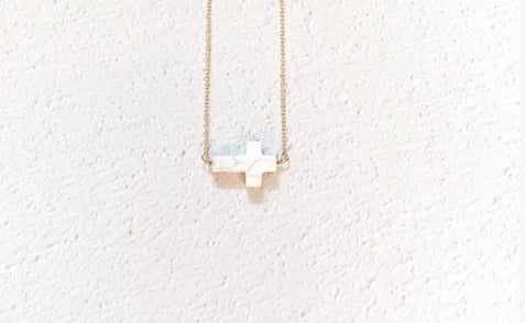 White Marble Horizontal Cross Necklace