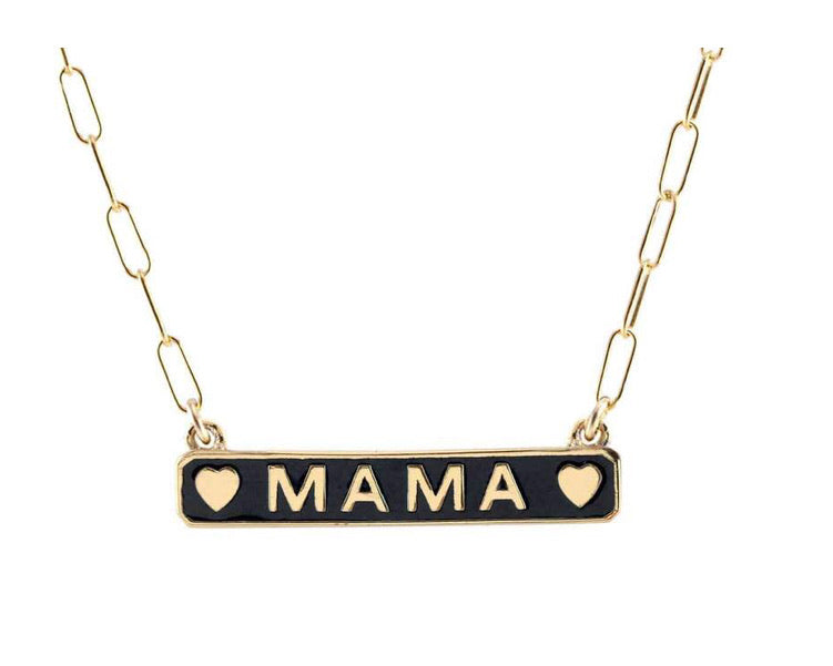 Mama Enamel ID Necklace 18K Vermeil