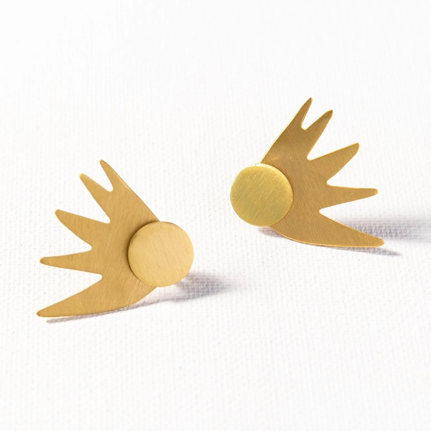 Matte Burst Brass Earrings