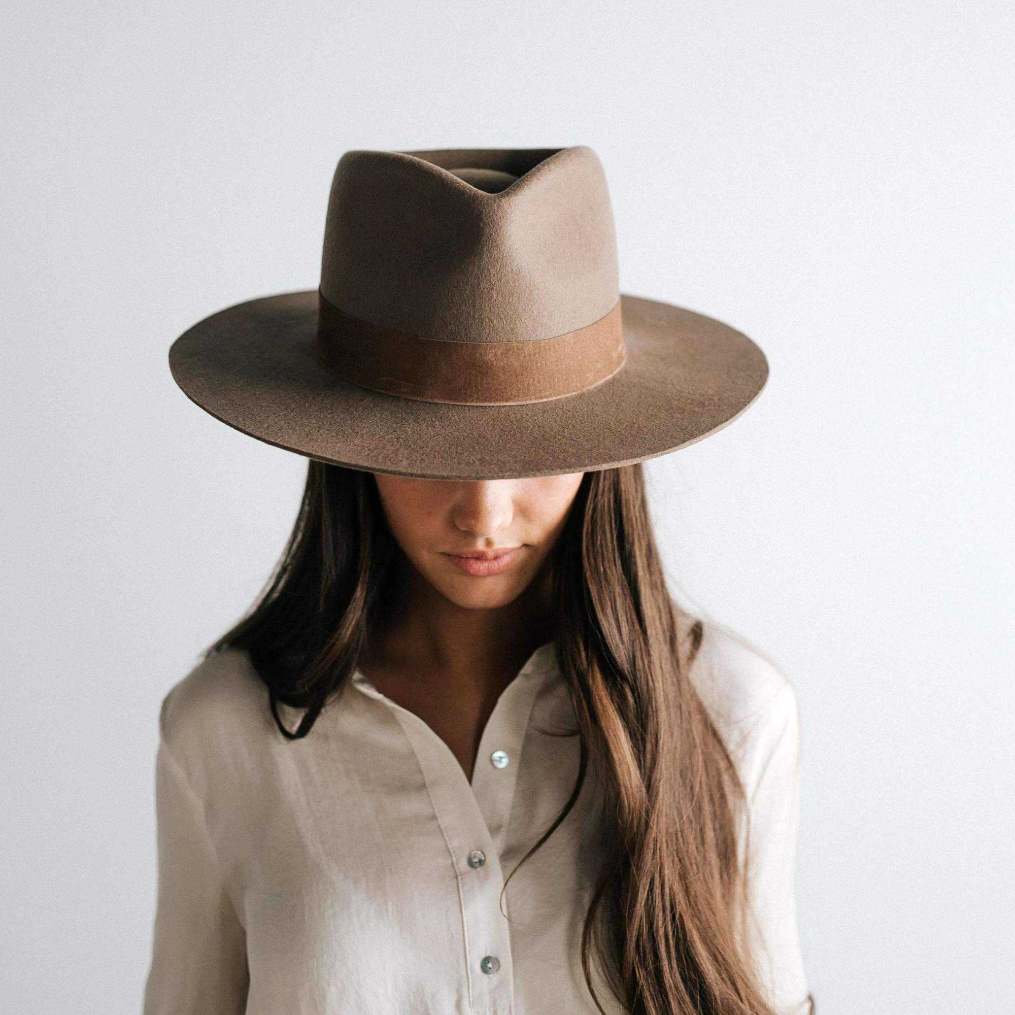 Miller Brown Fedora with Flat Brim