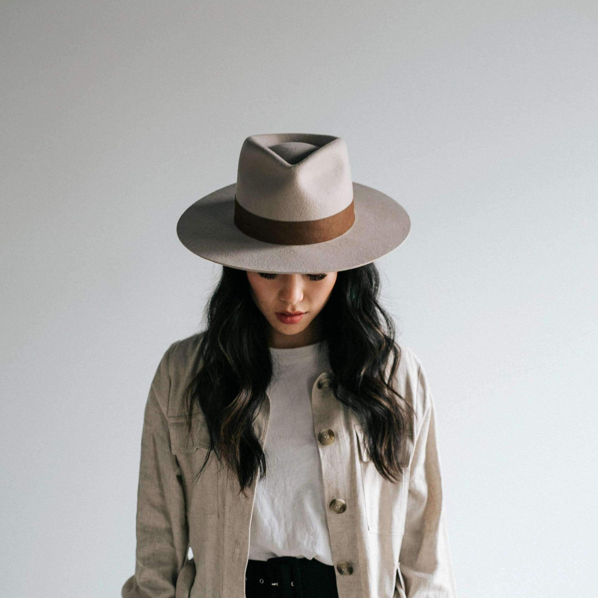 Miller Ivory Crown Fedora with Flat Brim
