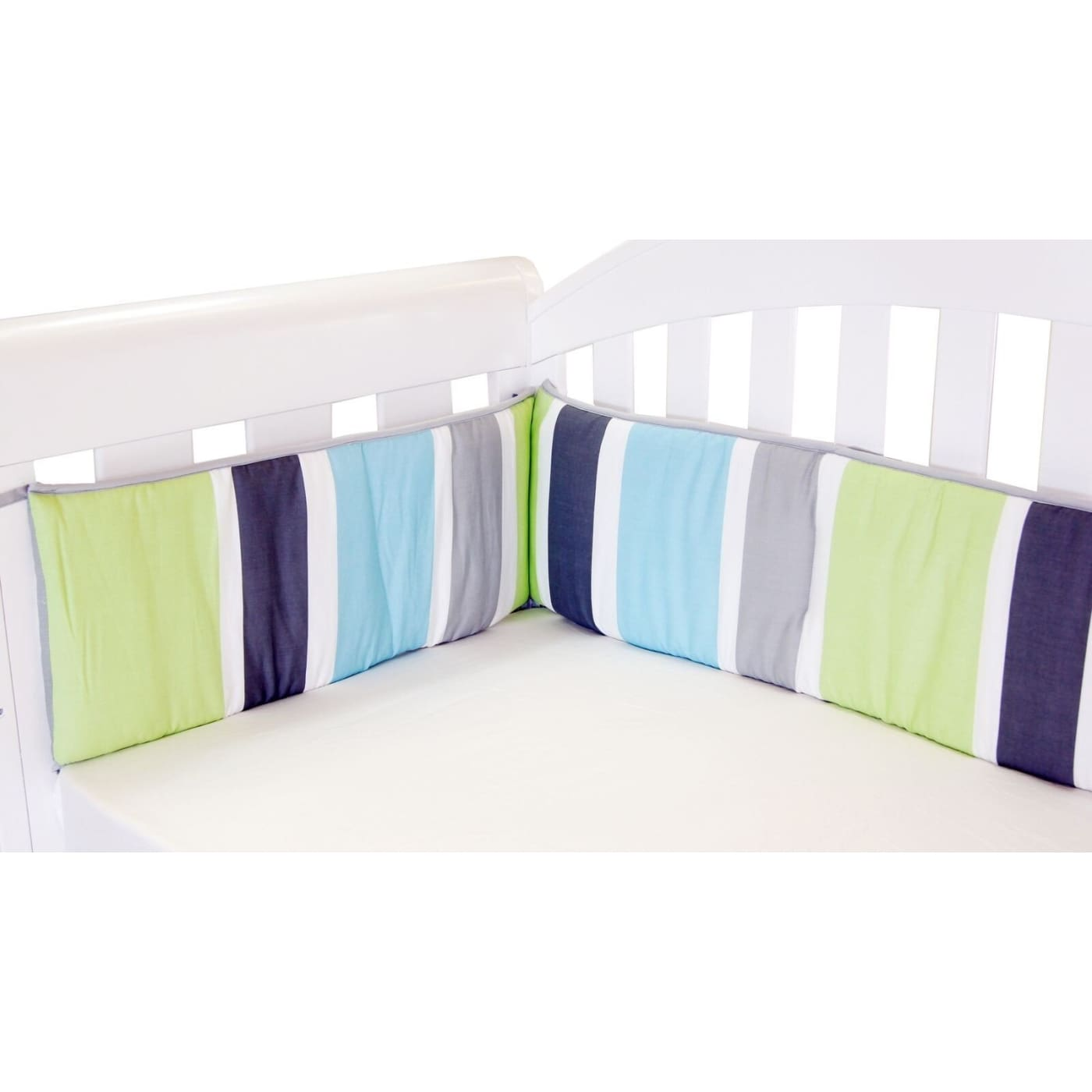 Amani Bebe Summer Stripe Cot Bumper - Lime - NURSERY & BEDTIME - COT BUMPERS