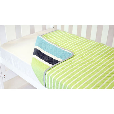 Amani Bebe Summer Stripe Cot Coverlet - Lime - NURSERY & BEDTIME - SLEEPING BAGS