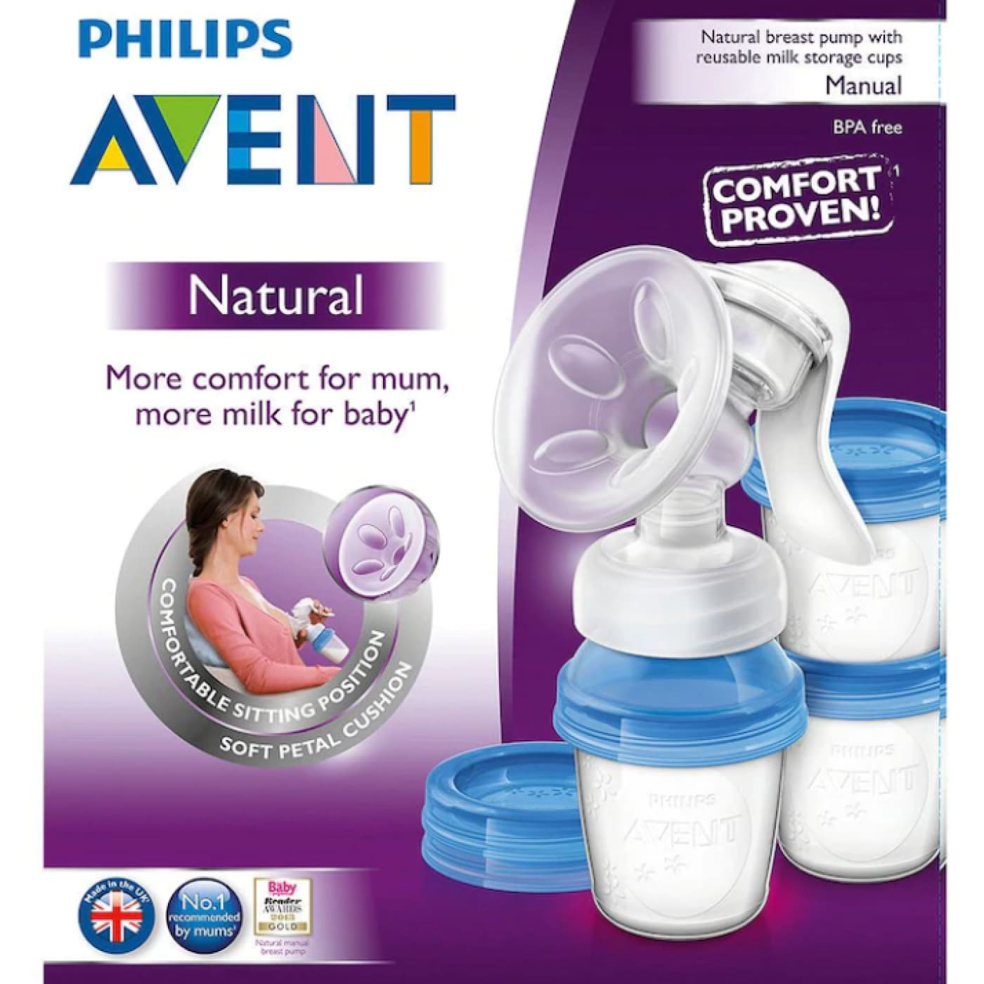 Avent Natural Breast Pump with Reusable Milk Storage Cups - NURSING & FEEDING - BREAST PUMPS/ACCESSORIES