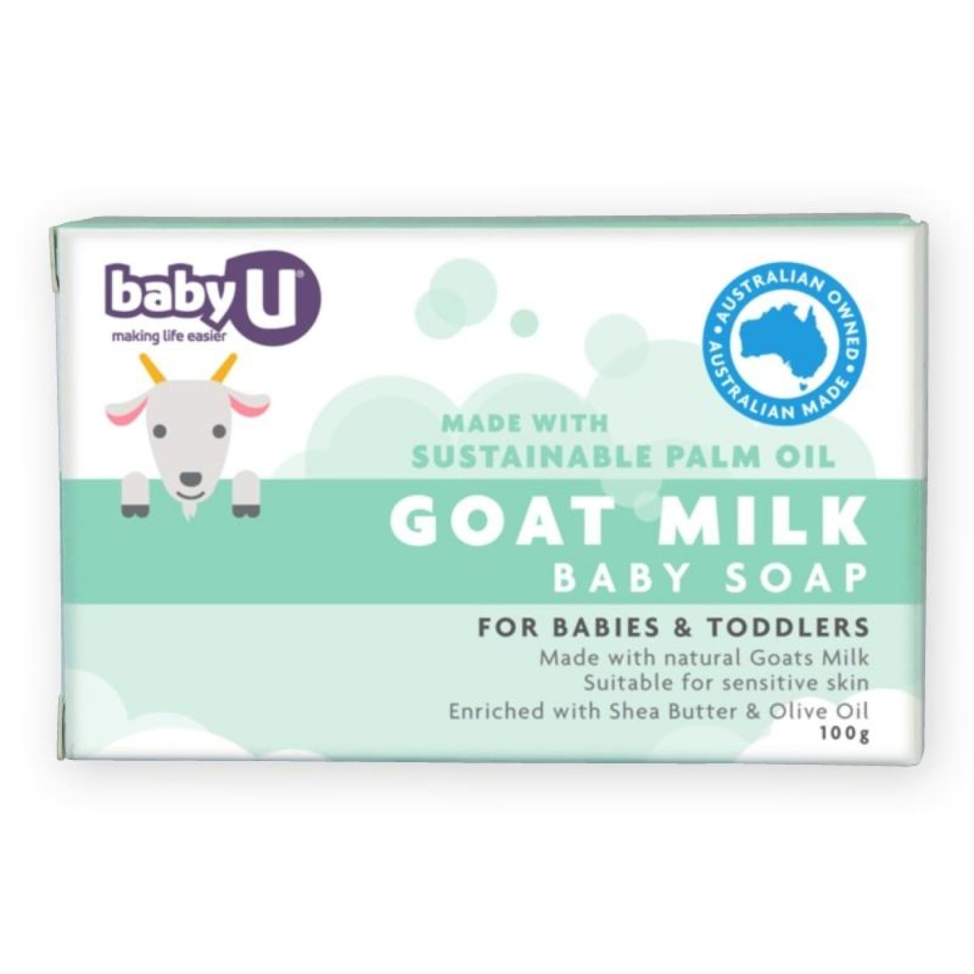 Baby U Goats Milk Baby Soap 100g - BATHTIME & CHANGING - GROOMING/HYGIENE/COSMETICS
