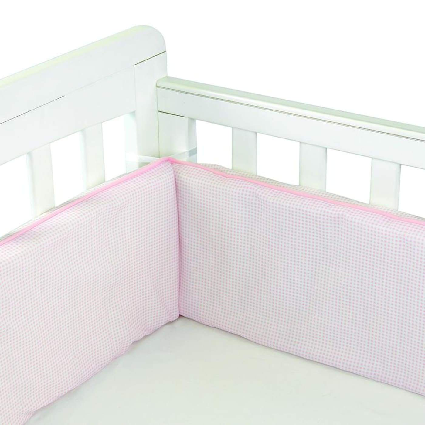 Babyhood Cot Bumper 3 sided - Pale Pink Gingham - NURSERY & BEDTIME - COT BUMPERS