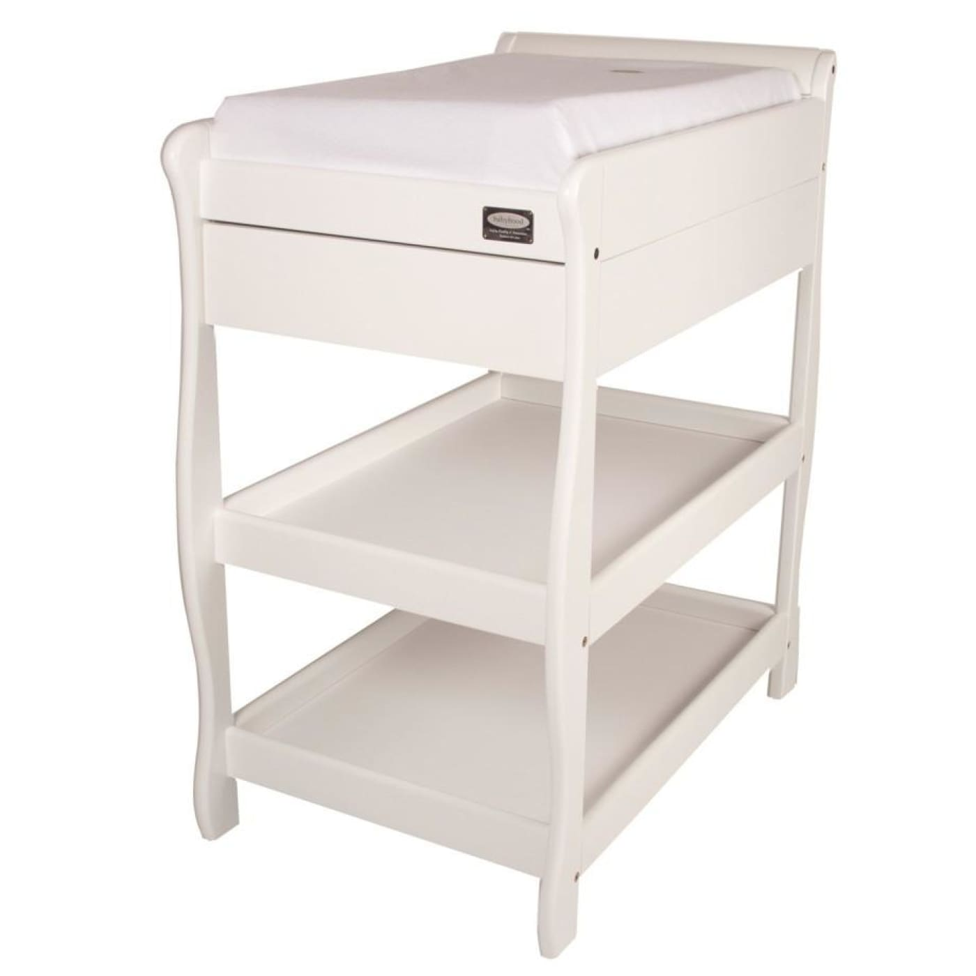 Babyhood Sleigh Change Table With Drawer - White - NURSERY & BEDTIME - CHANGE TABLES