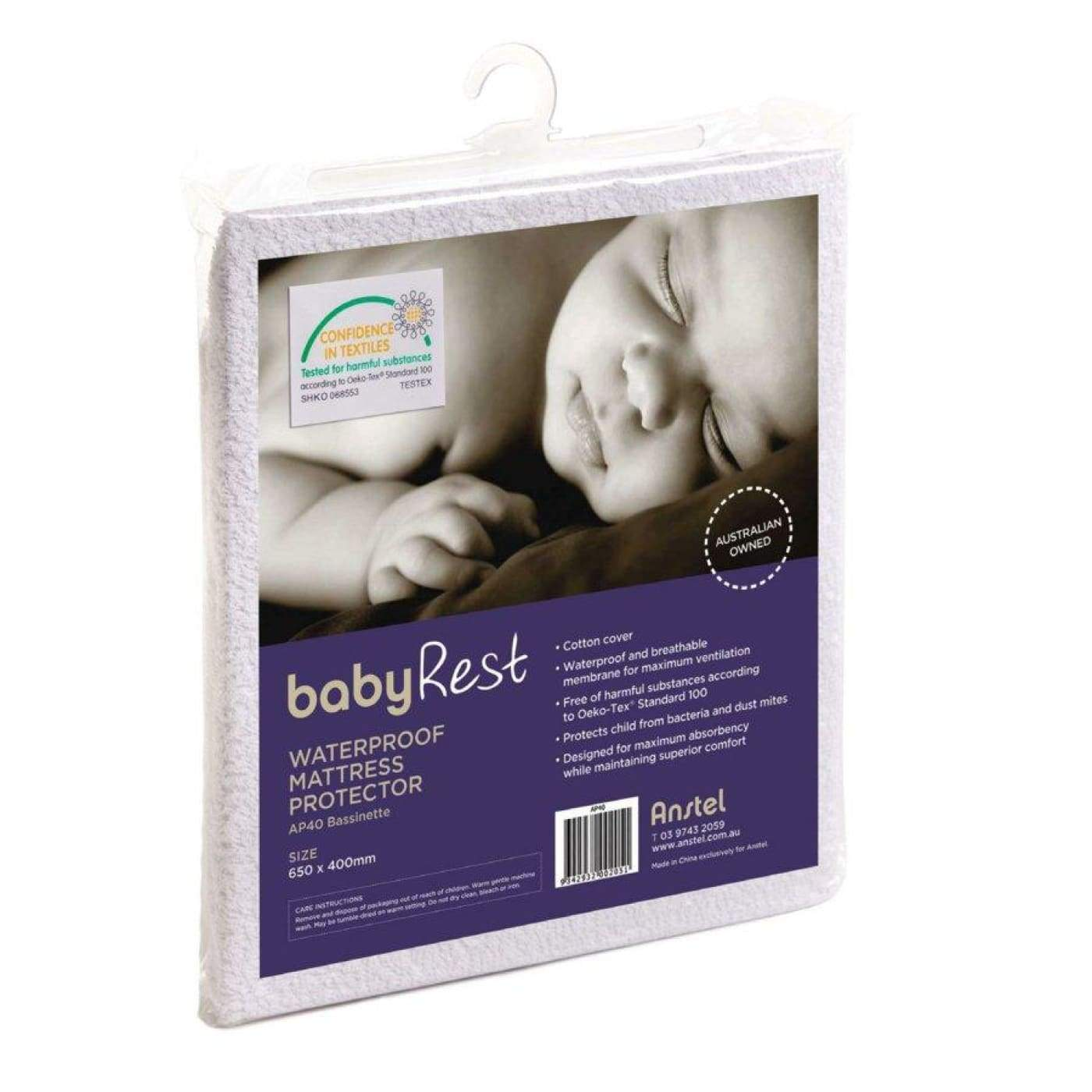 Babyrest Waterproof Mattress Protector - Bassinet 65X40CM - NURSERY & BEDTIME - BASS/CRADLE/COSLEEP MATT PROT