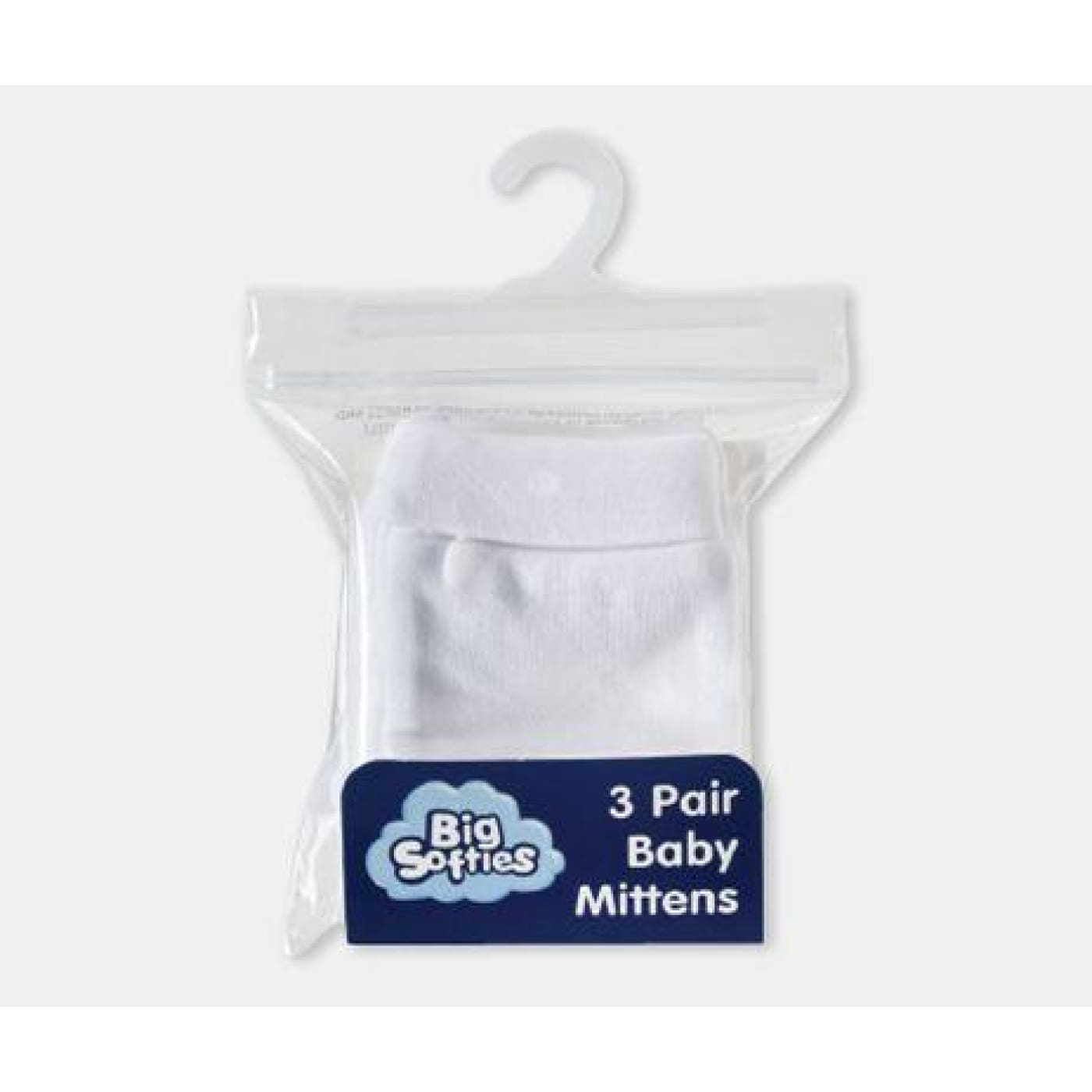 BIG SOFTIES Mittens WHITE 3PK - BABY & TODDLER CLOTHING - MITTENS/SOCKS/SHOES