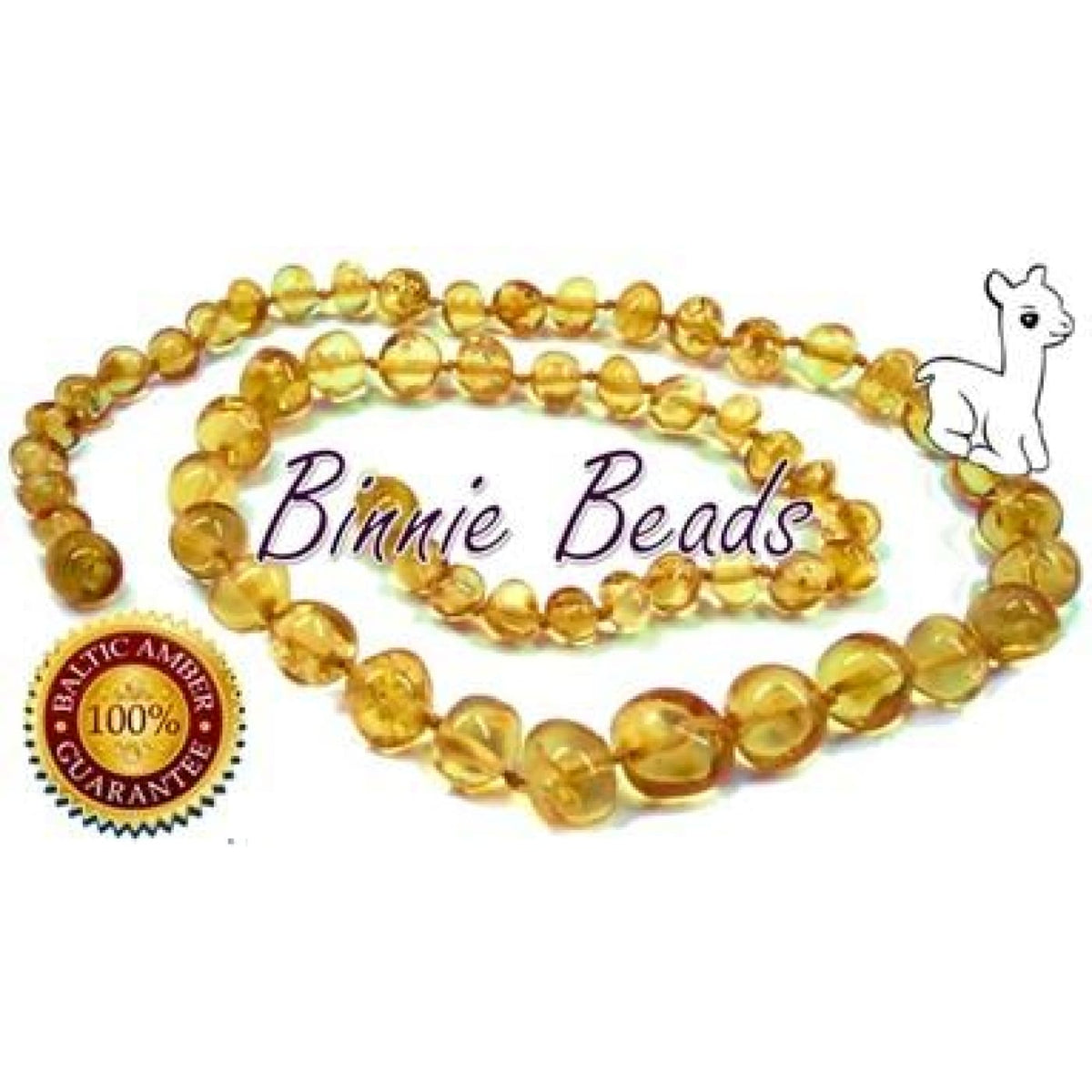 Binnie Baltic Amber Teething Baby Necklace - Honey 32CM - NURSING & FEEDING - TEETHERS/TEETHING JEWELLERY