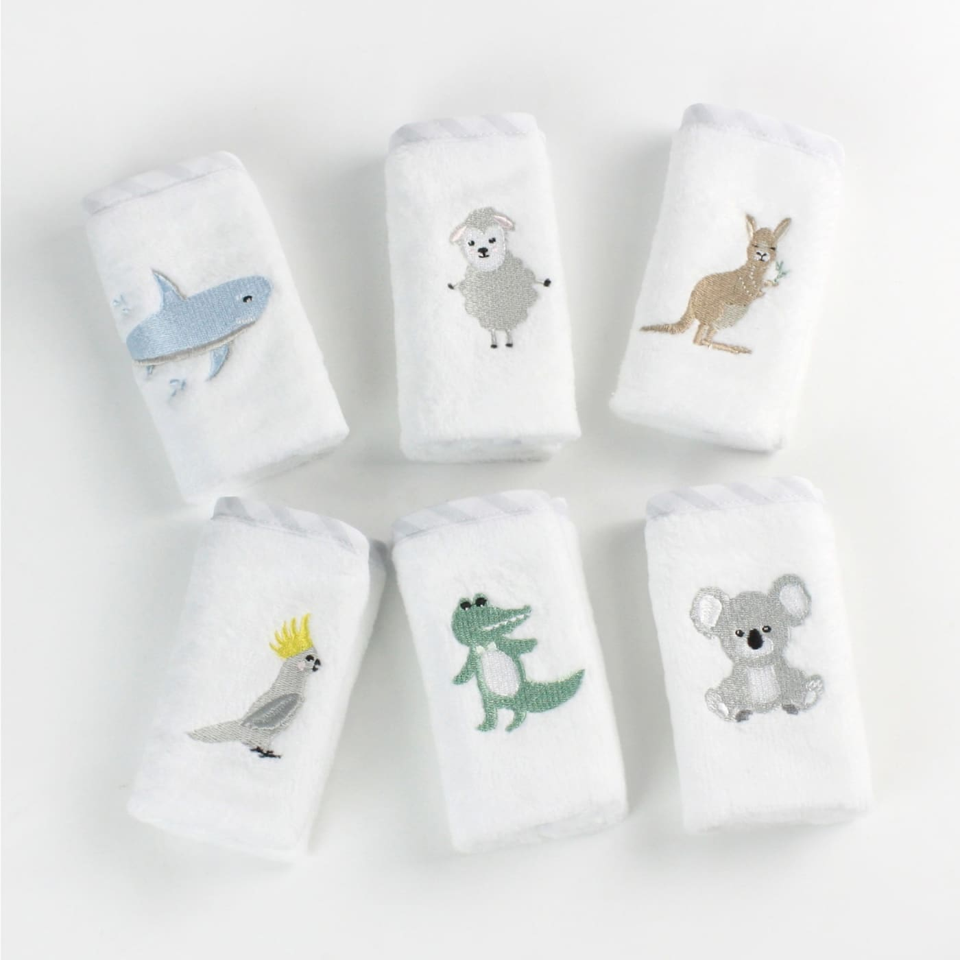 Bubba Blue Face Washer 6pc - Aussie Animal - Aussie Animal - BATHTIME & CHANGING - TOWELS/WASHERS