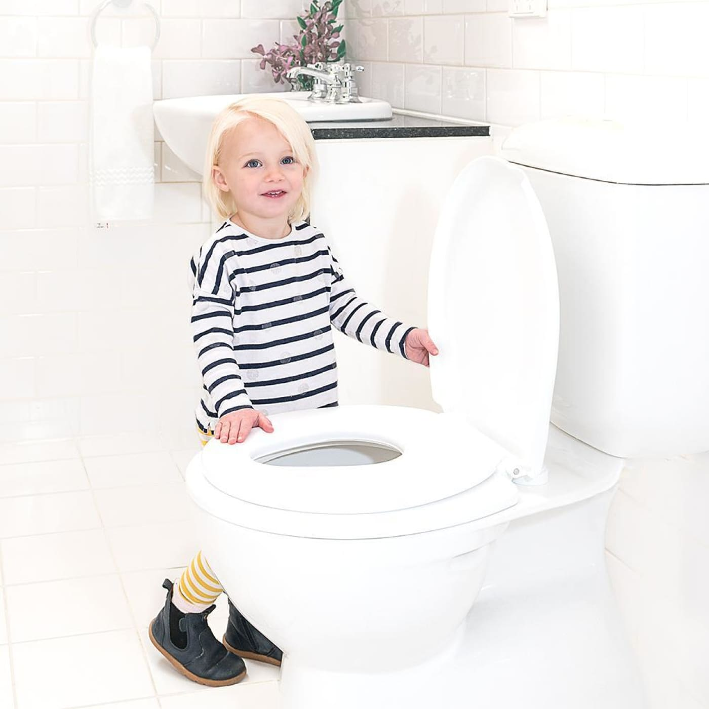 Childcare 2-in-1 Toilet Trainer - White - White - BATHTIME & CHANGING - TOILET TRAINING/STEP STOOLS