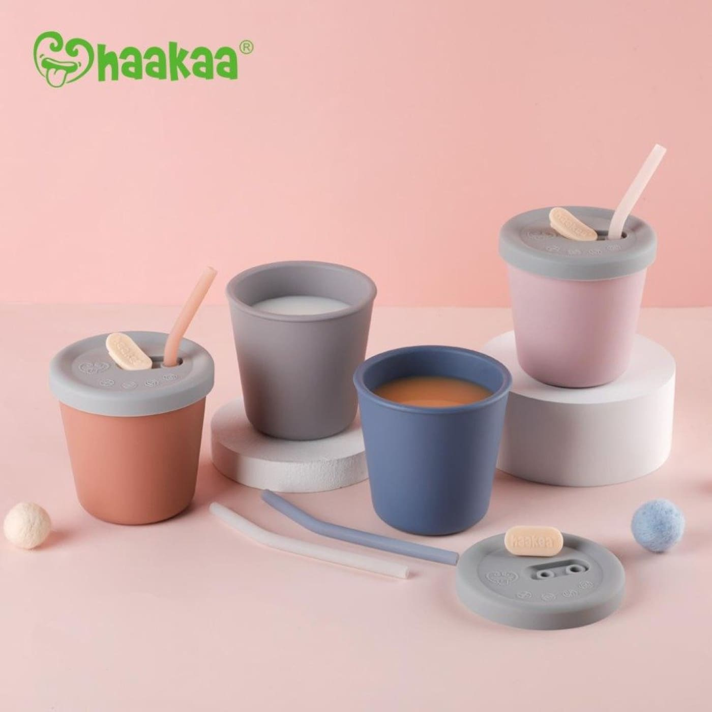 Haakaa Silicone Sippy Straw Cup - Blush - Blush - NURSING & FEEDING - CUPS/DRINK BOTTLES