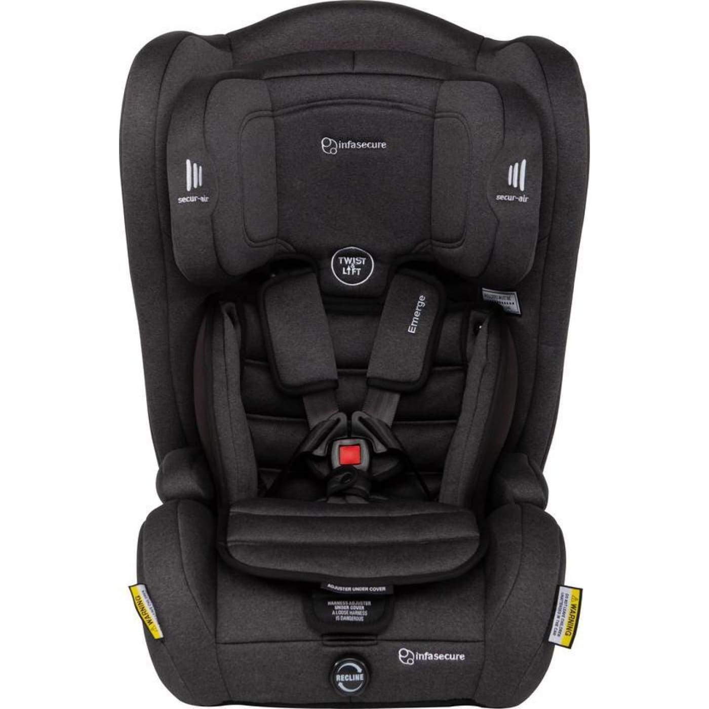 InfaSecure Go Emerge Harnessed Booster 6M-8YR - Black - CAR SEATS - HARNESSED BOOSTERS (6M-8YR)