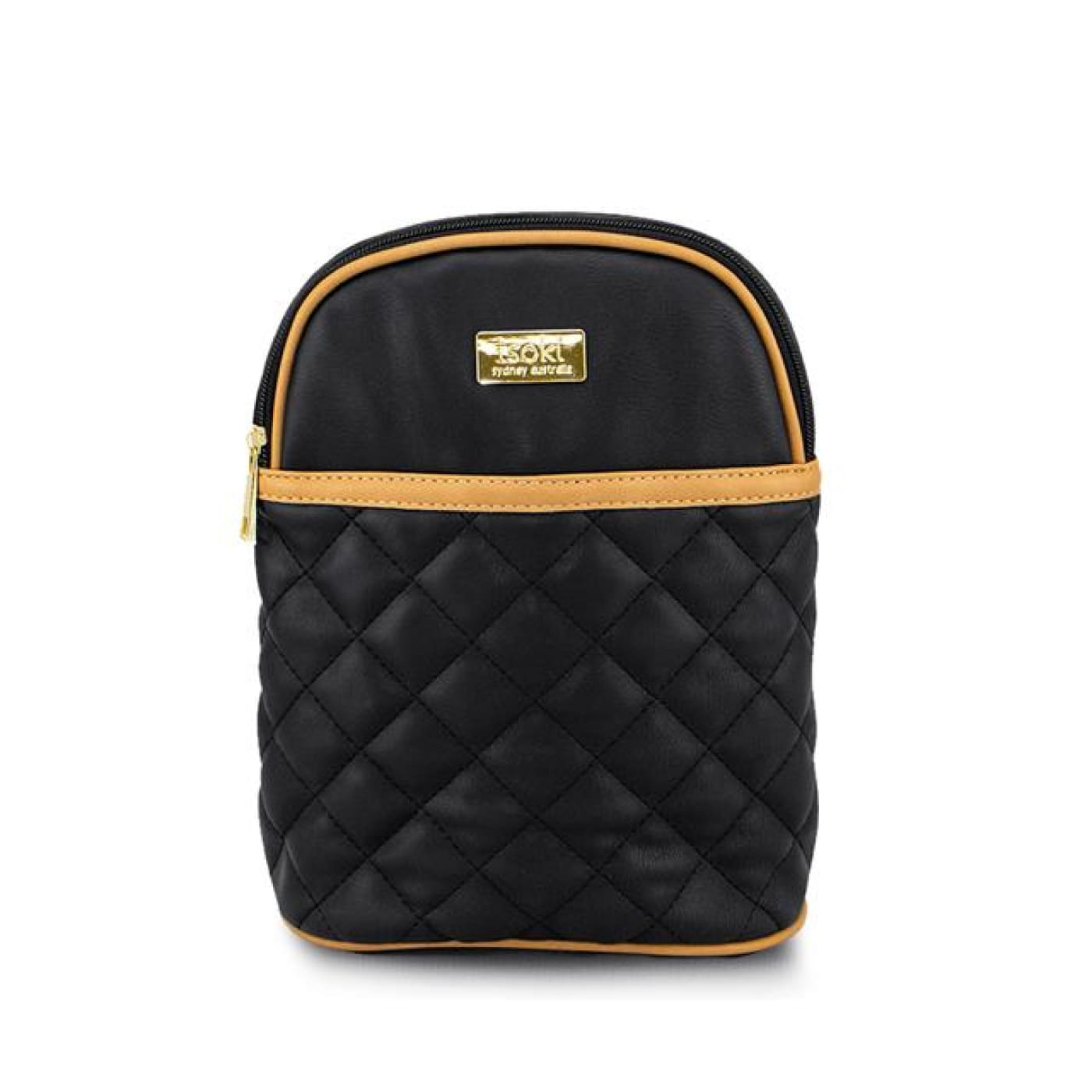 Isoki Ayr Insulated Botle Bag - Black/Tan Quilt - ON THE GO - NAPPY BAGS/LUGGAGE
