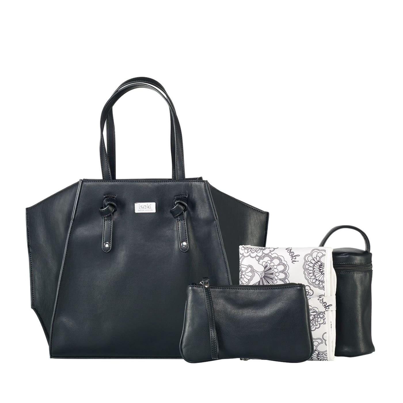 Isoki Easy Access Tote - Toorak Black - ON THE GO - NAPPY BAGS/LUGGAGE