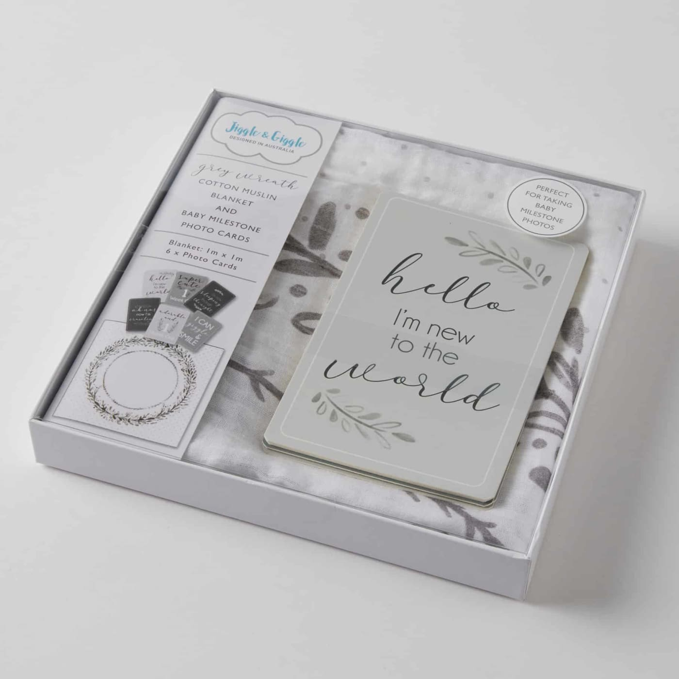Jiggle & Giggle Milestone Cotton Muslin & Baby Photo Cards - Grey Wreath - Grey Wreath - GIFTWARE - MILESTONE BLOCKS/CARDS