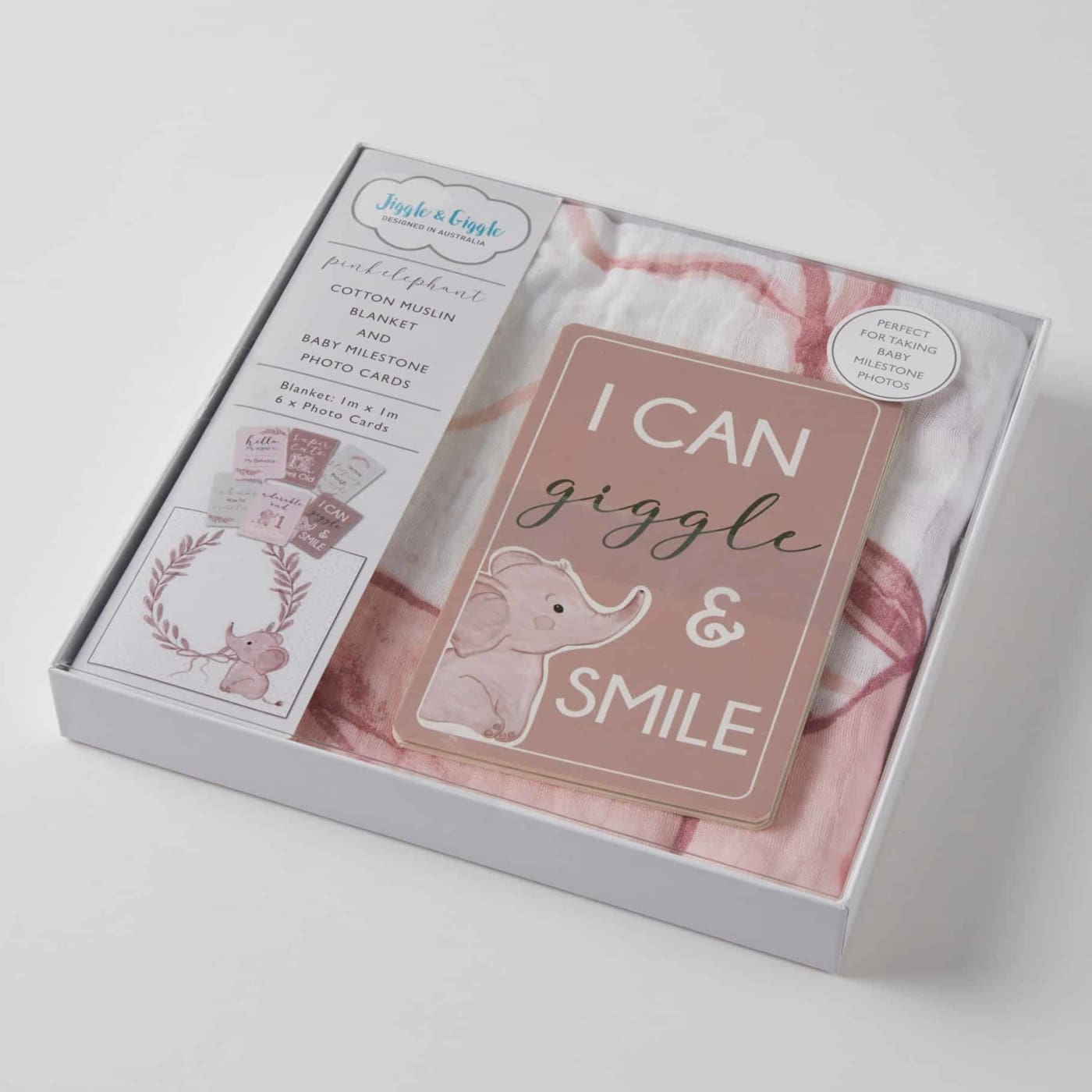 Jiggle & Giggle Milestone Cotton Muslin & Baby Photo Cards - Pink Elephant - Pink Elephant - GIFTWARE - MILESTONE BLOCKS/CARDS