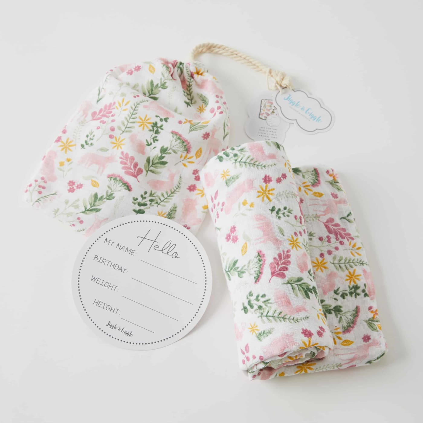 Jiggle & Giggle Muslin Wrap and Arrival Card - Earth Spirit - Earth Spirit - NURSERY & BEDTIME - SWADDLES/WRAPS