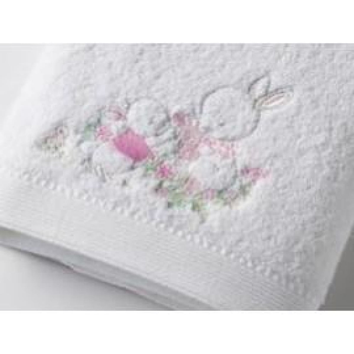 Pilbeam Towel and Face Washer in Organza Bag - Baby Girl Rabbit - Baby Girl Rabbit - BATHTIME & CHANGING - TOWELS/WASHERS