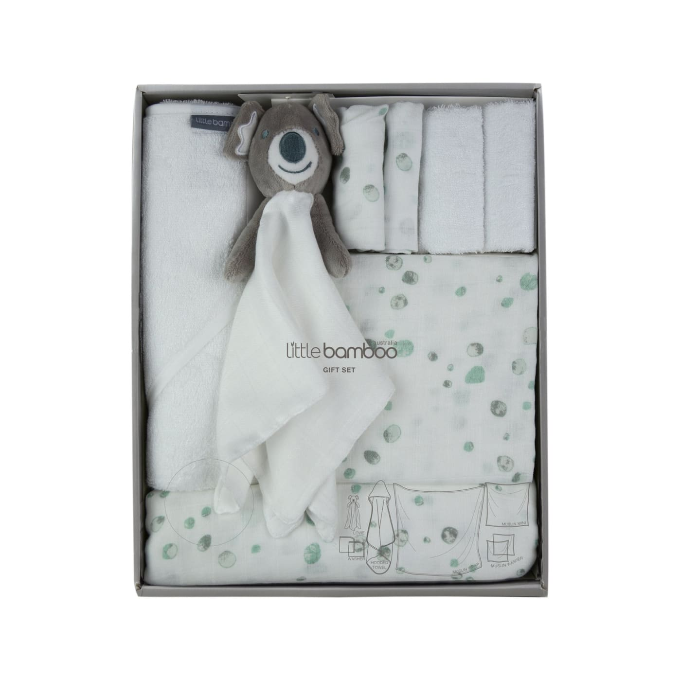 Little Bamboo Muslin and Towel Gift Pack - Australia - Aussie - BATHTIME & CHANGING - TOWELS/WASHERS