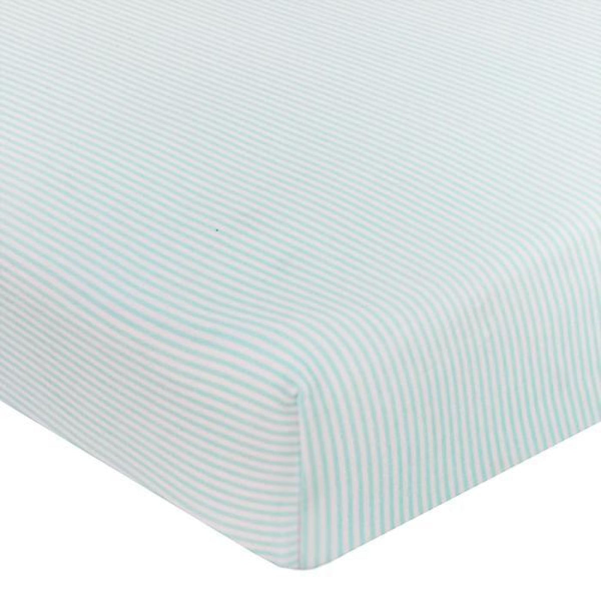 Living Textiles Cot Fitted Sheet Jersey - Aqua Stripe - NURSERY & BEDTIME - COT MANCHESTER
