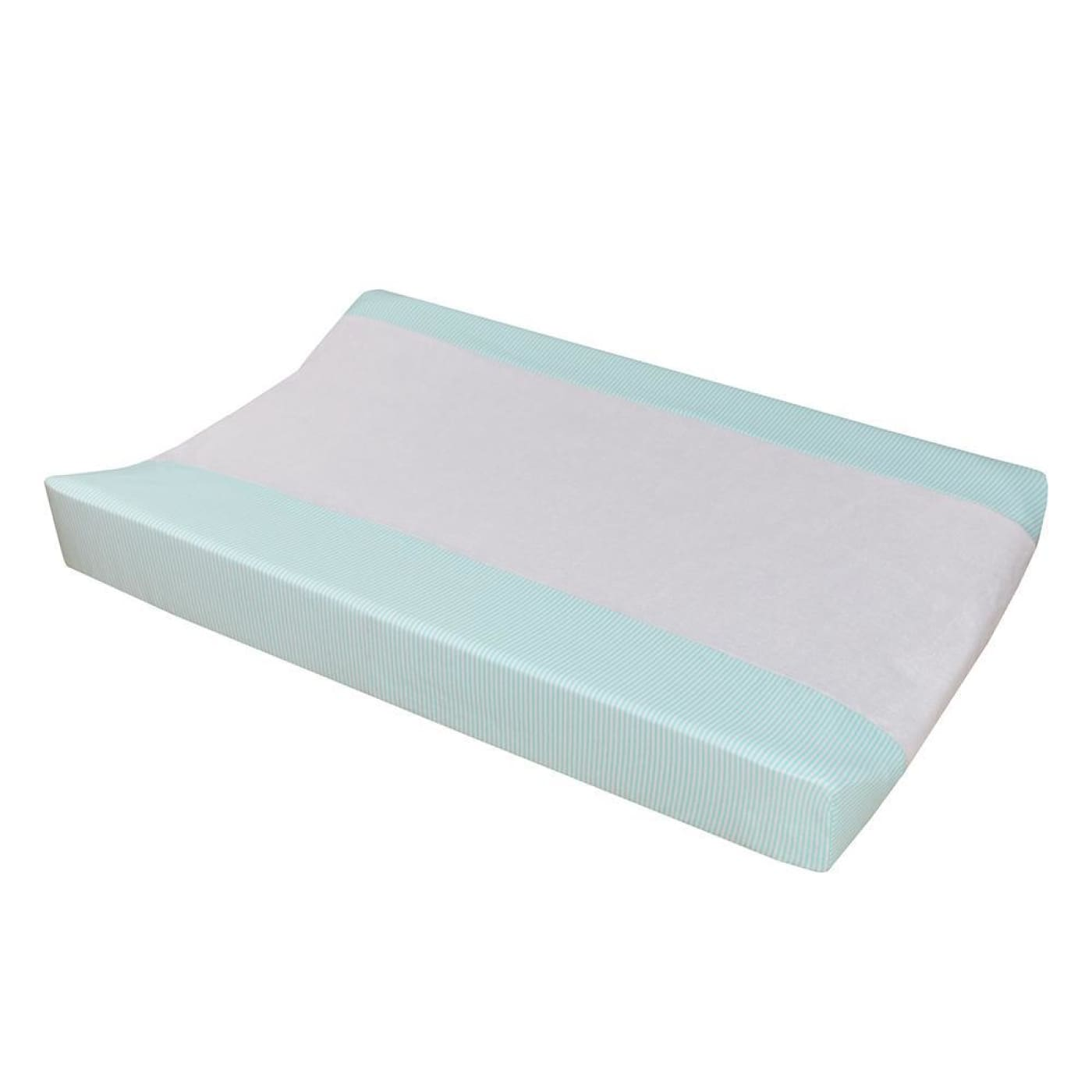 Living Textiles Jersey Change Pad Cover- Aqua Stripe/Towelling - BATHTIME & CHANGING - CHANGE MATS/COVERS