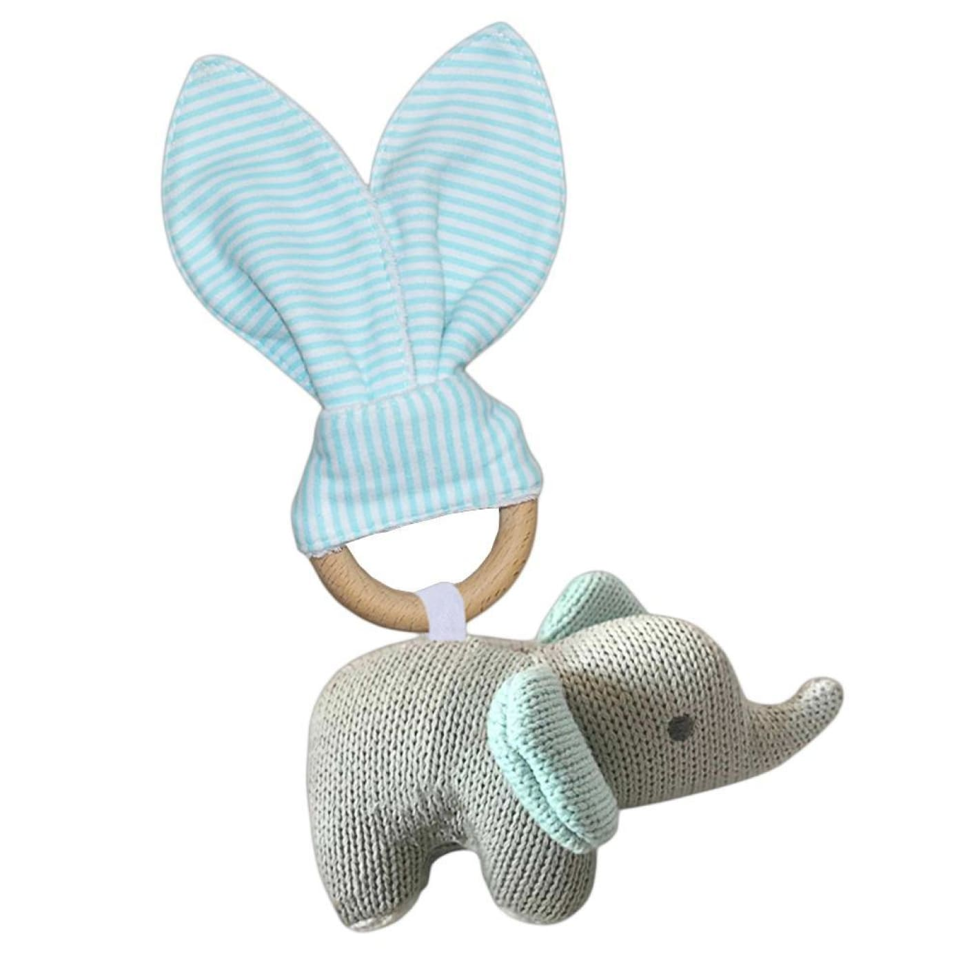 Living Textiles Knitted Toy Teether Set - Elephant - NURSING & FEEDING - TEETHERS/TEETHING JEWELLERY