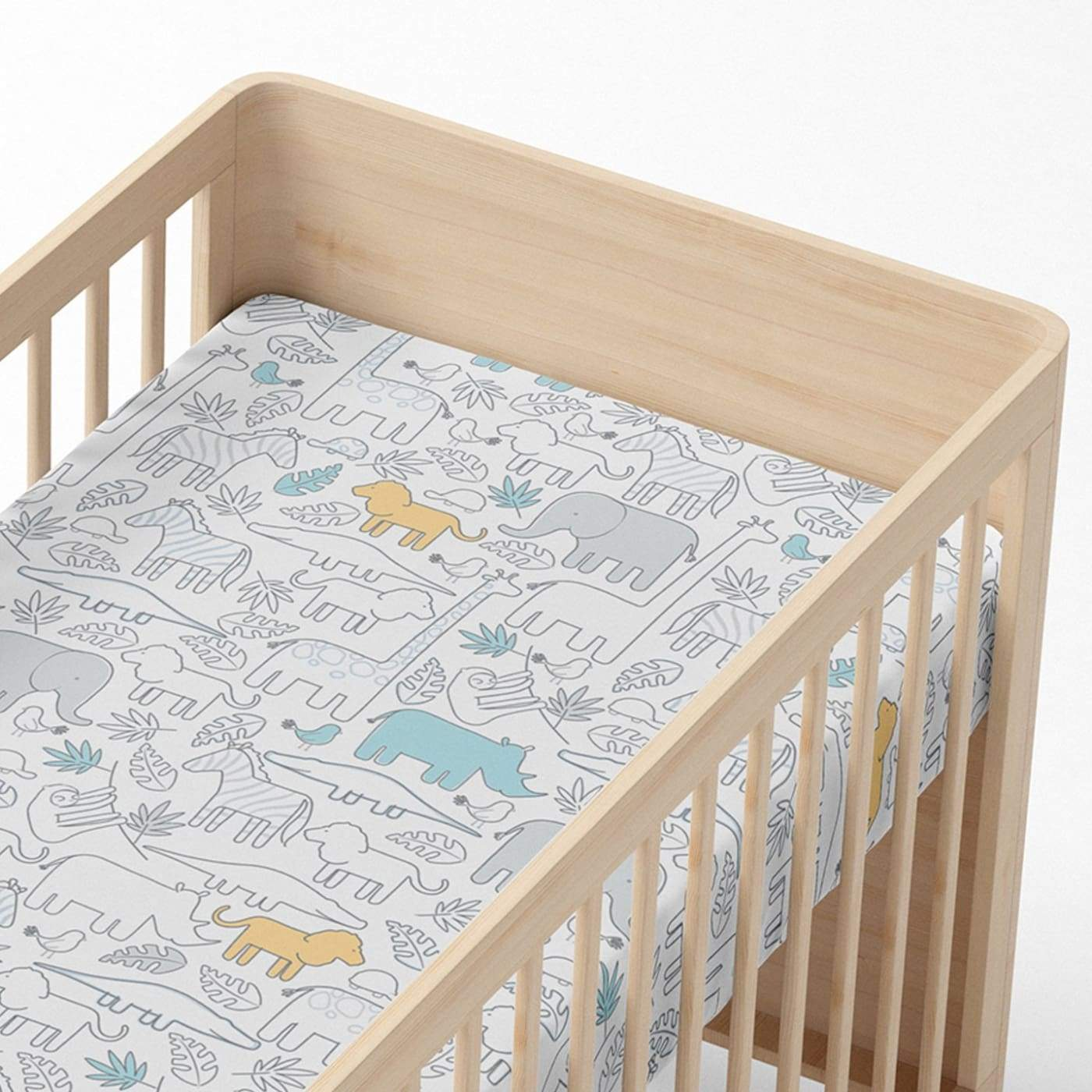 Living Textiles Fitted Sheet - Urban Safari - NURSERY & BEDTIME - COT MANCHESTER