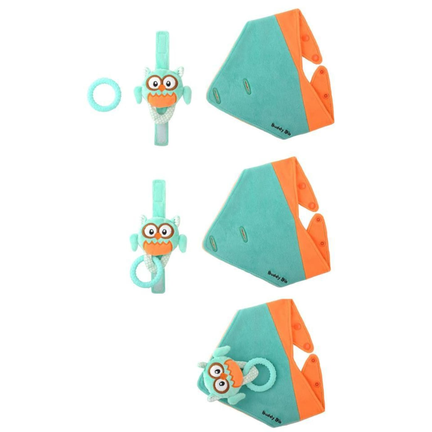 Malarkey Kids Buddy Bib - Aqua Ollie Owl - NURSING & FEEDING - BIBS/BURP CLOTHS