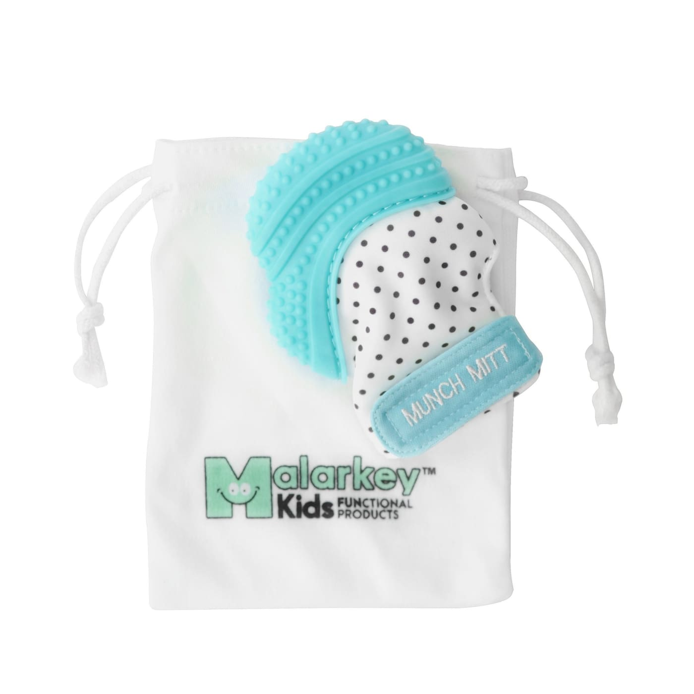Malarkey Kids Munch Mitt Teething Mitten - Aqua Blue - NURSING & FEEDING - TEETHERS/TEETHING JEWELLERY