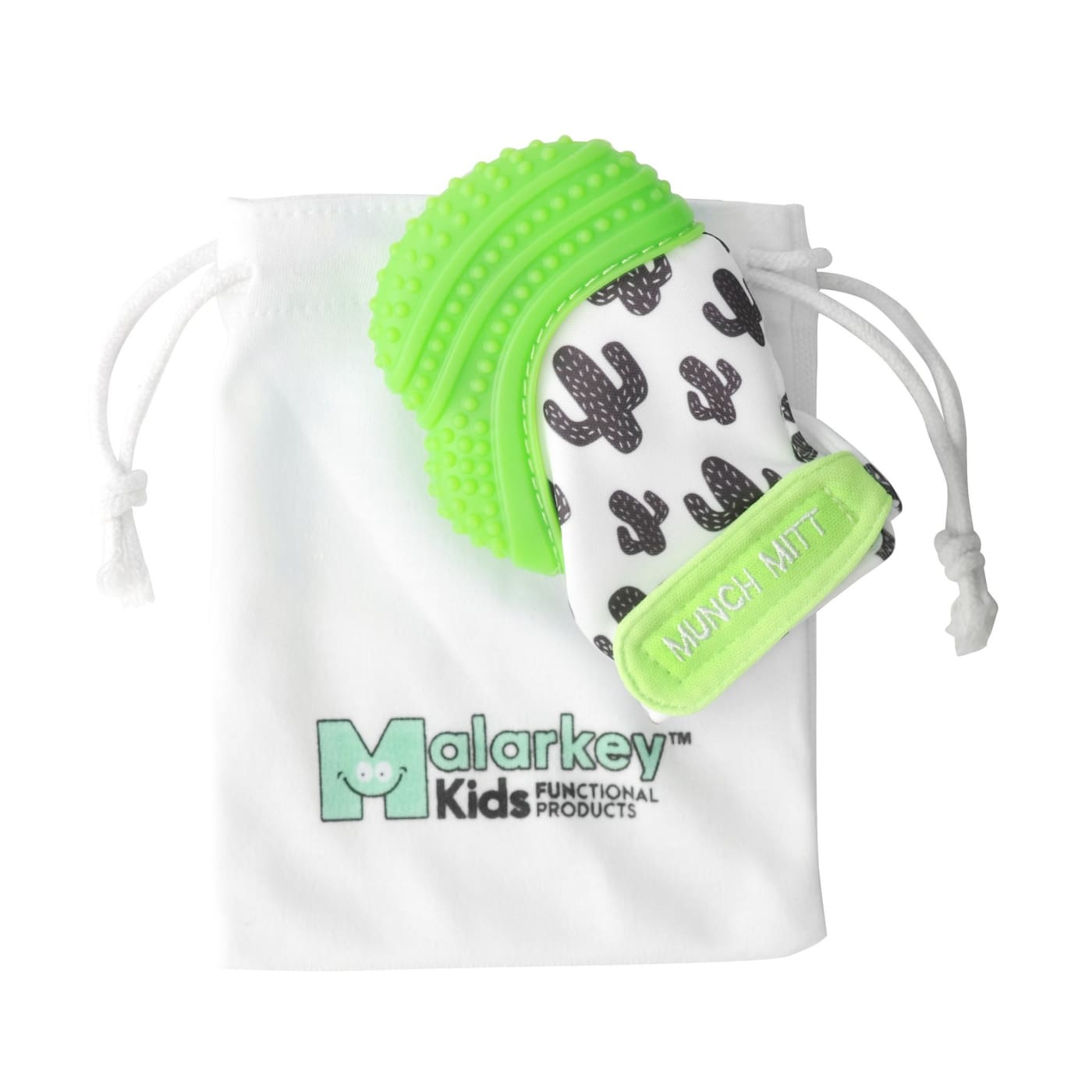 Malarkey Kids Munch Mitt Teething Mitten - Green Cactus - NURSING & FEEDING - TEETHERS/TEETHING JEWELLERY