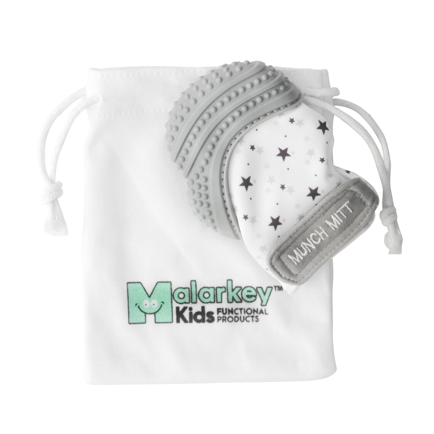 Malarkey Kids Munch Mitt Teething Mitten - Grey Stars - NURSING & FEEDING - TEETHERS/TEETHING JEWELLERY