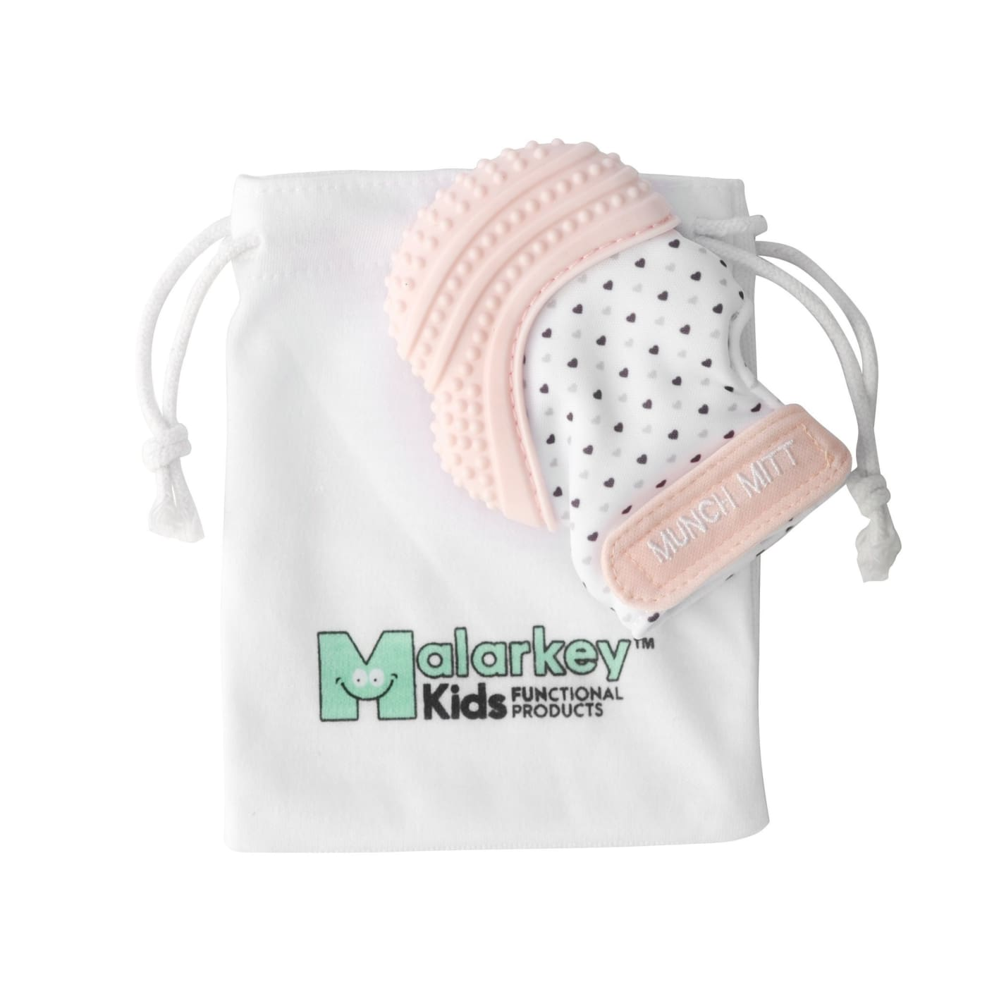 Malarkey Kids Munch Mitt Teething Mitten - Pastel Pink - NURSING & FEEDING - TEETHERS/TEETHING JEWELLERY
