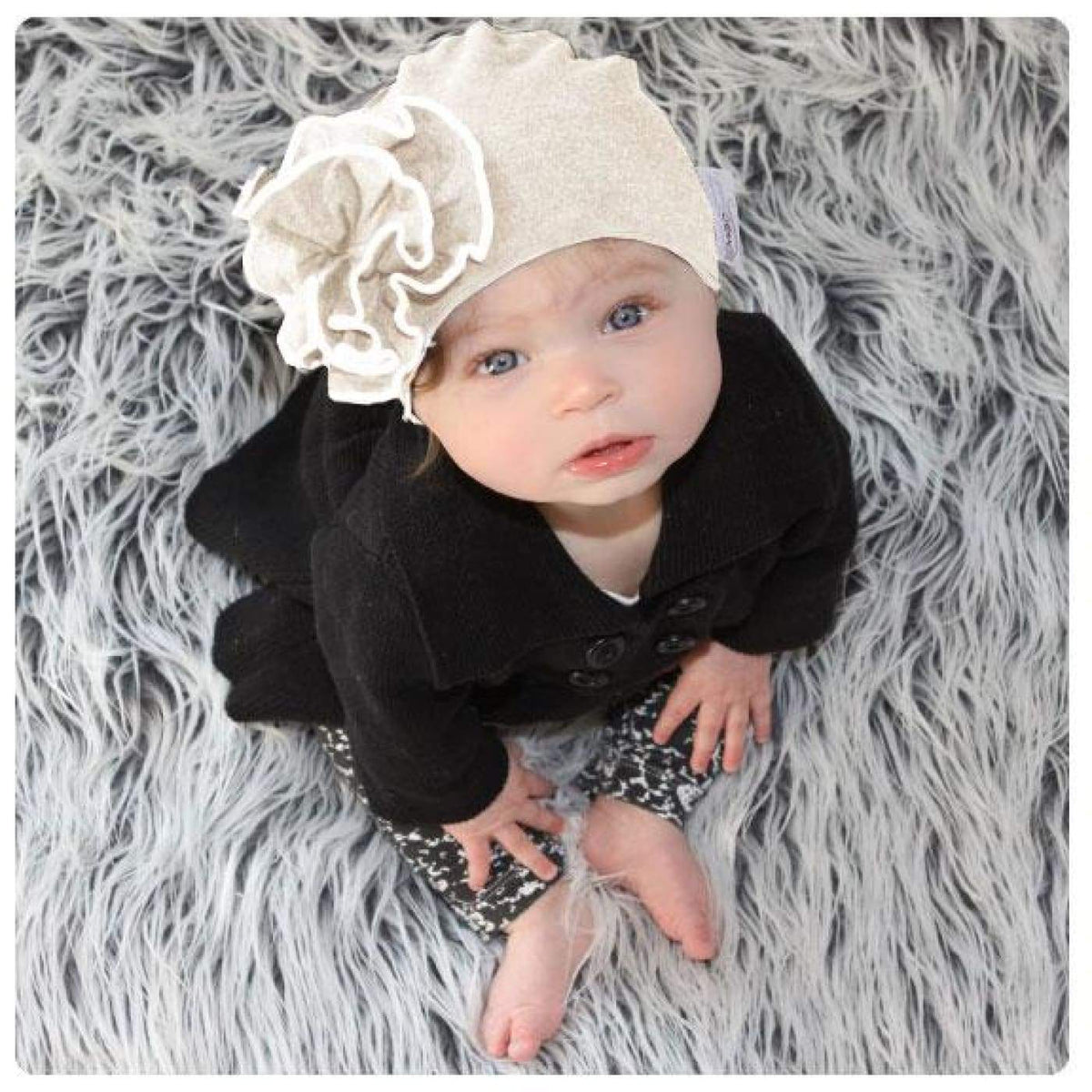 Mod Swad Bamboo Flower Beanie - Bisque - Medium - Medium / Bisque - BABY & TODDLER CLOTHING - BEANIES/HATS