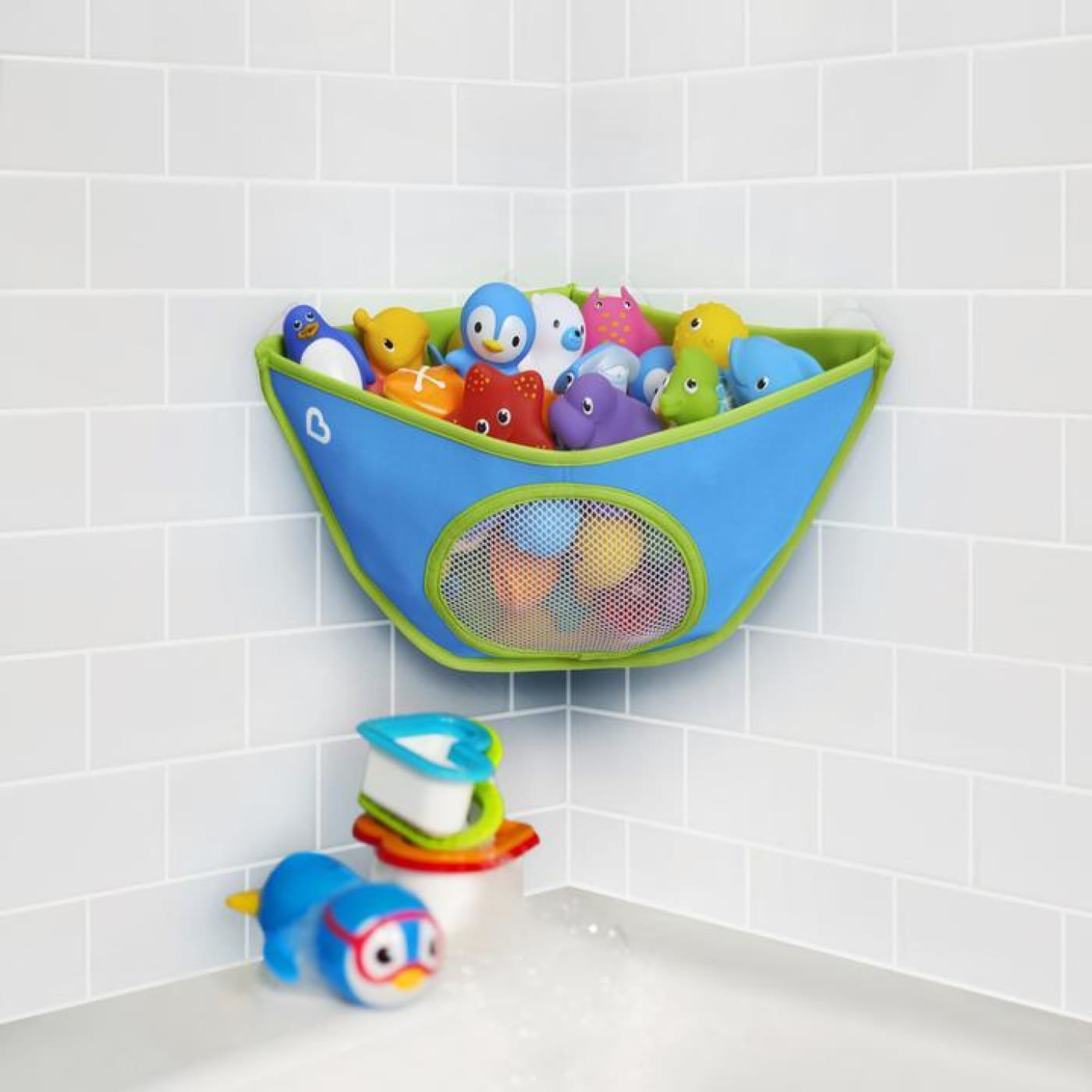 Munchkin Corner Bath Organiser - Blue/Green - BATHTIME & CHANGING - BATH TOYS/AIDS