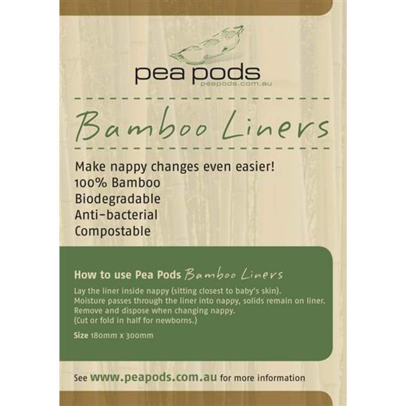 Pea Pods 100% Bamboo Liners - BATHTIME & CHANGING - NAPPIES/WIPES/ACC ECO RANGE