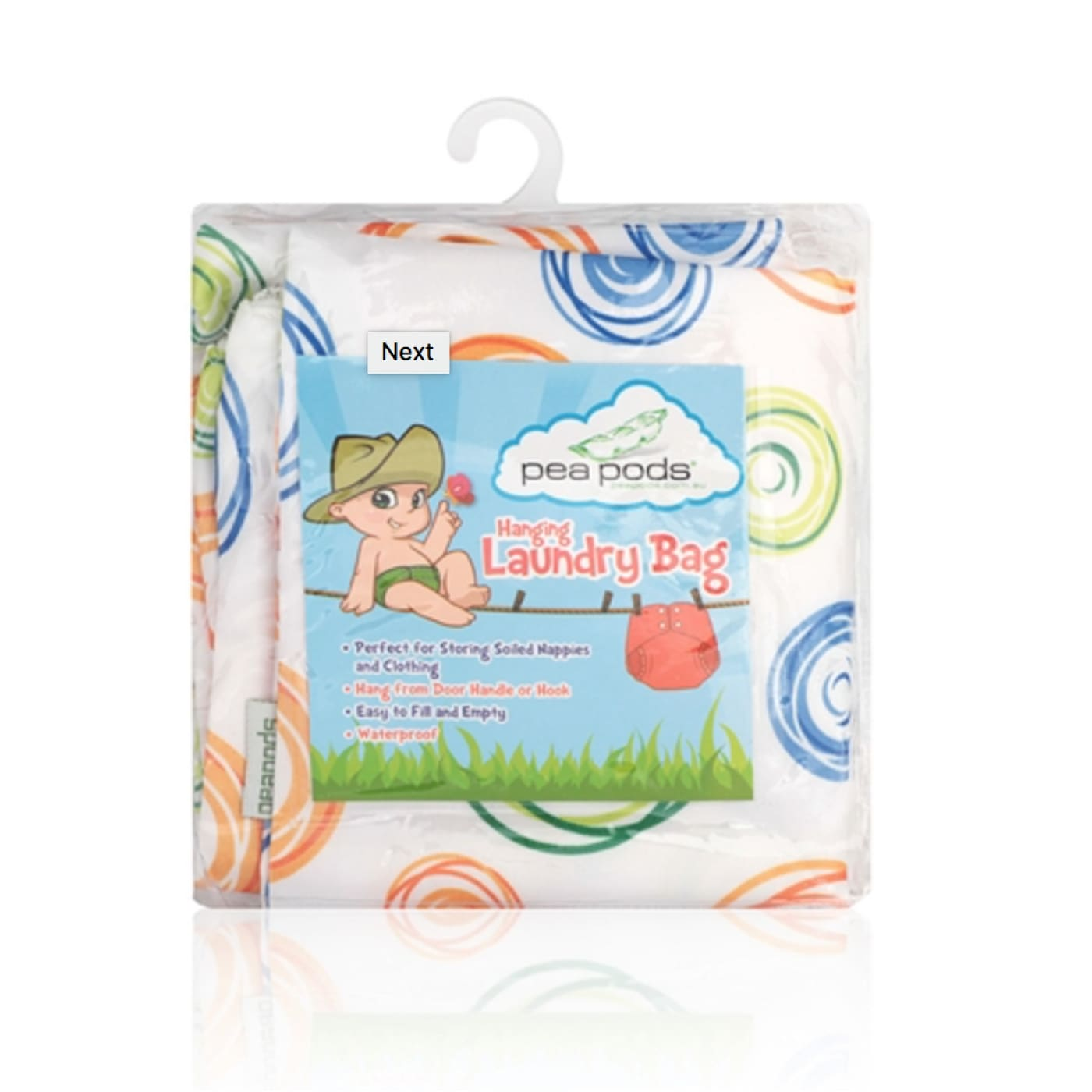 Pea Pods Laundry Bag - Swirl - BATHTIME & CHANGING - NAPPIES/WIPES/ACC ECO RANGE