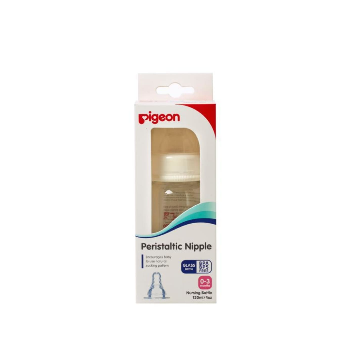 Pigeon Glass Bottle - Small Teat 120ML - 120ml - NURSING & FEEDING - BOTTLES/TEATS