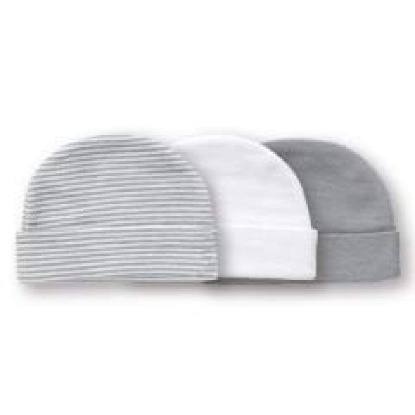 Playette 3pp Preemie Caps GREY/WHITE - BABY & TODDLER CLOTHING - MITTENS/SOCKS/SHOES
