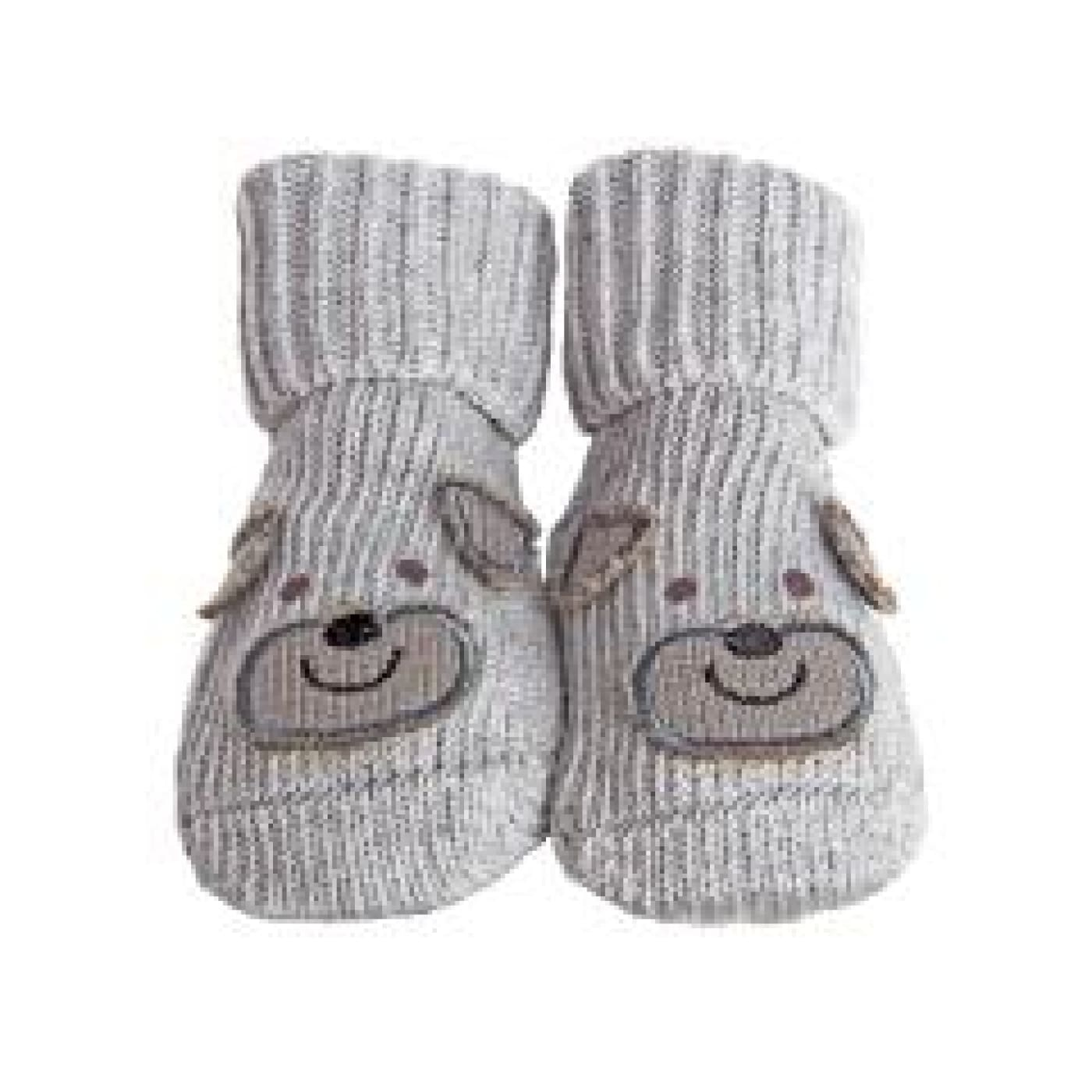 Playette Novelty Bootie Socks - Boys Grey Puppy 0-6M - BABY & TODDLER CLOTHING - MITTENS/SOCKS/SHOES