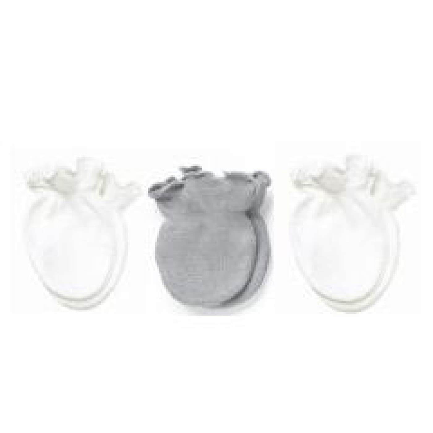 Playette Preemie Mittens - Grey/White 3PK - BABY & TODDLER CLOTHING - MITTENS/SOCKS/SHOES