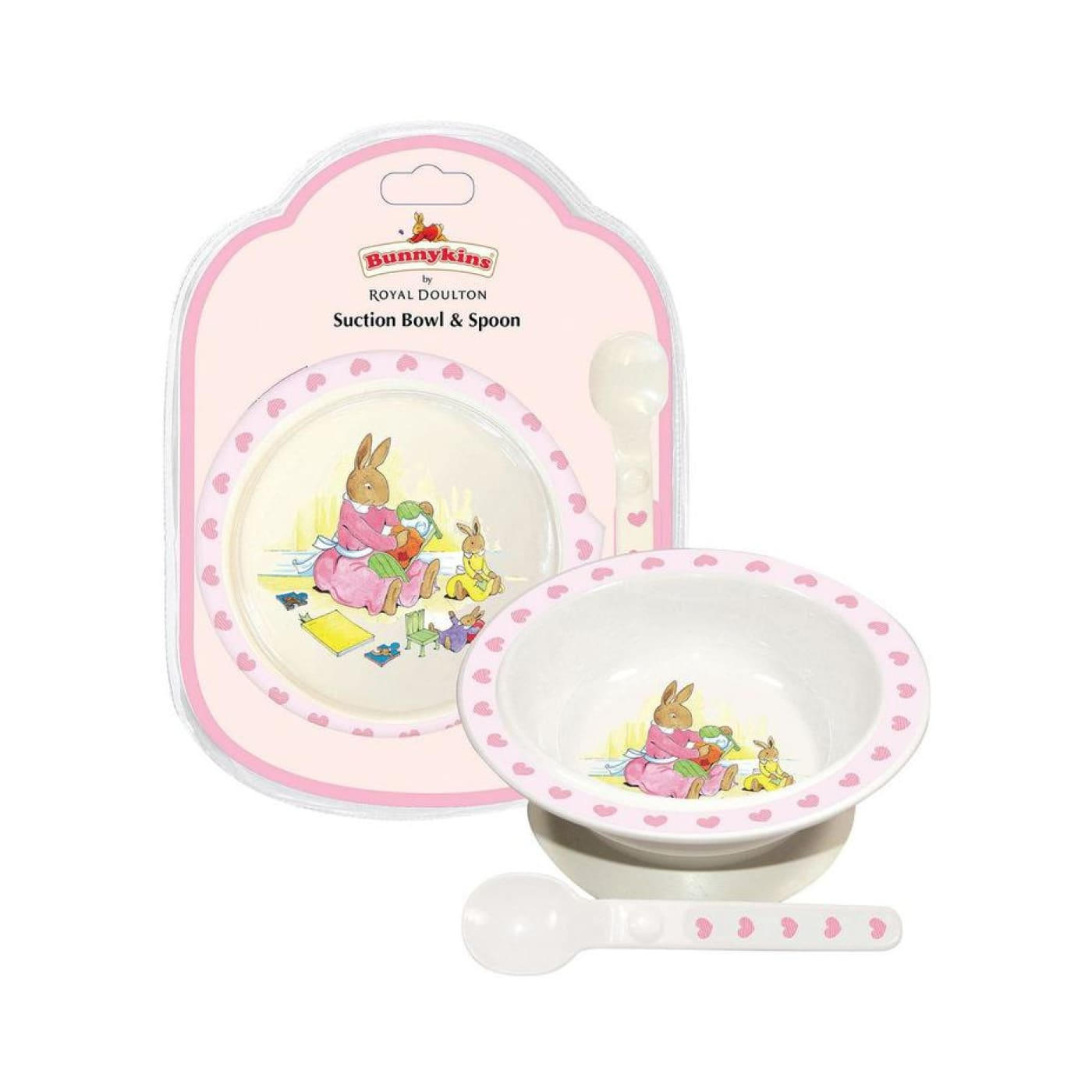 Bunnykins Suction Bowl & Spoon - Pink Hearts - NURSING & FEEDING - CUTLERY/PLATES/BOWLS/TOYS