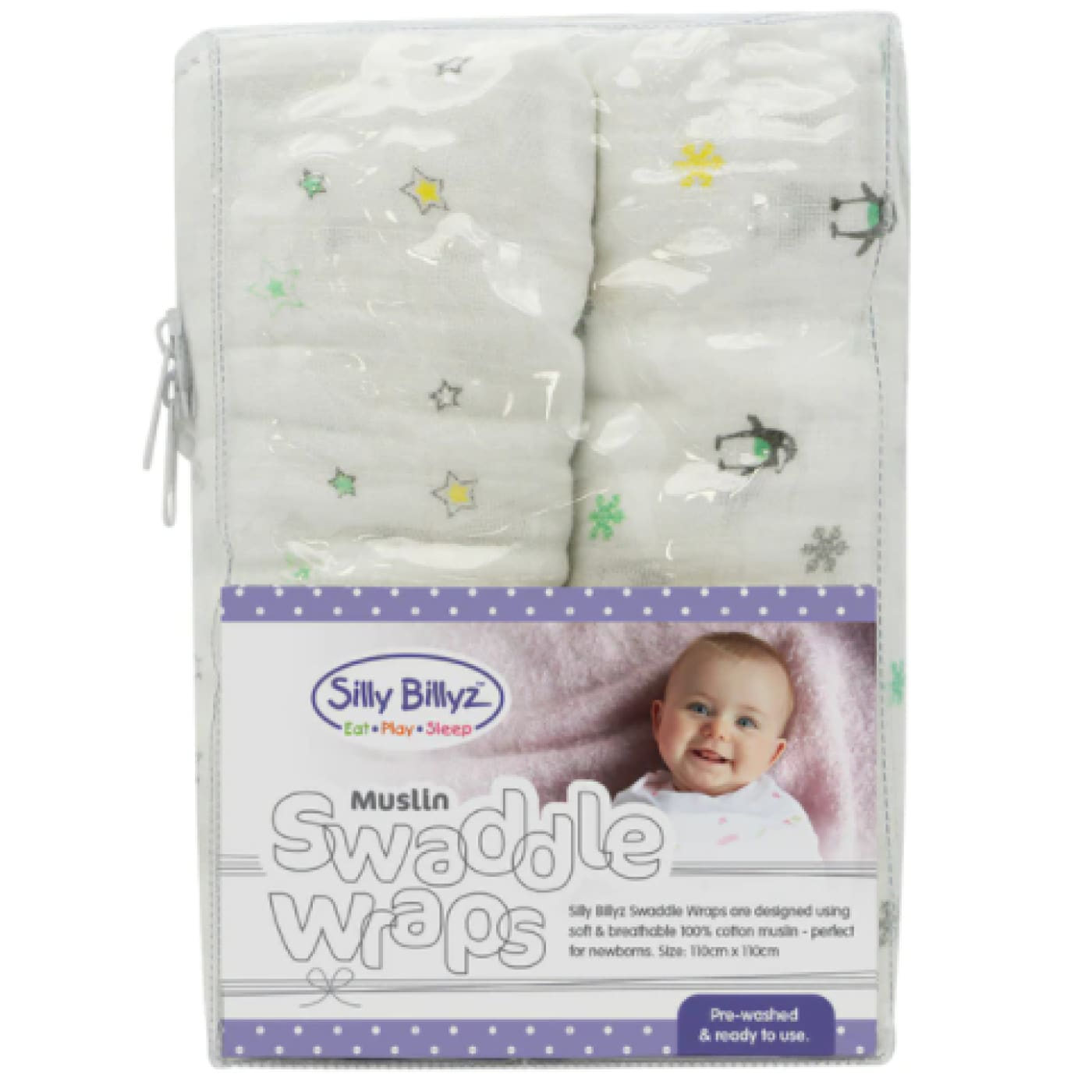 Silly Billyz Muslin Swaddle Wrap 2pack - Neutral - NURSERY & BEDTIME - SWADDLES/WRAPS